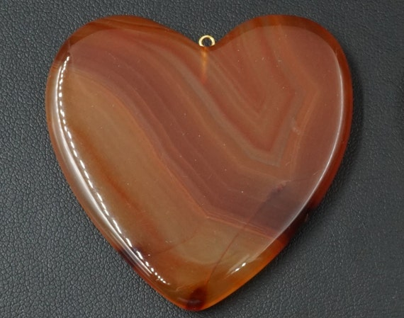 Large Heart Shaped Smooth Agate Pendant A-4