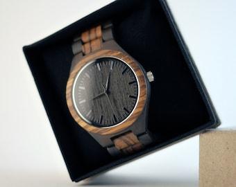 Zebra Wood Watch | Wooden Watch | Sandalwood Watch | Groomsmen Gift Watches | Men's Watch | Mens Gift Watch | Gift for Him Watch Box