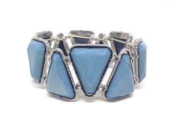 Gorgeous Blue Silver Tone Triangle Estate Stretch Bracelet