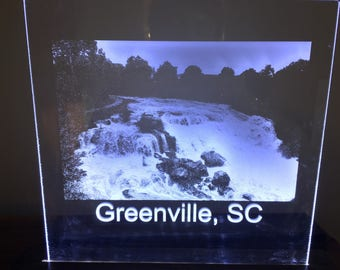 Laser Engraved Falls Park Photo LED Sign