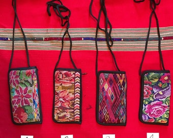 Padded Eyeglass/Sunglass Case & Wallet with Strap - Guatemalan Vintage Textile - Perfect for Travel, Hiking, On The Go!