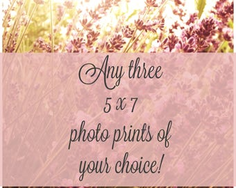 5 x 7 photo print deal select any three prints for 25 dollars off, photo print deal, tri-photo, discount, wedding gift, mother's day