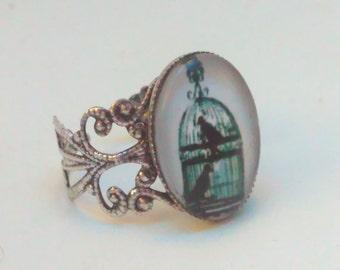 bird ring, statement ring, Goth ring, birdcage ring,  steampunk, Handmade steampunk, Steampunk ring, steampunk jewelry, steampunk ring, bird