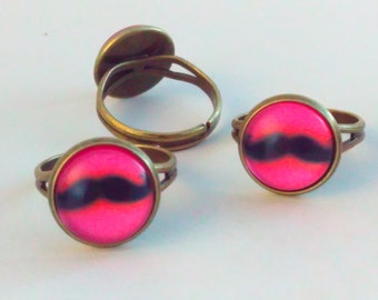 Multisize ring, pink ring, steampunk moustache, moustache ring, moustache,  steampunk, ring, fantasy ring, moustache gift, steampunk ring