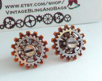 Bronze tone, handmade, steampunk earrings, Steampunk cog earrings, handmade steampunk stud earrings, handmade earrings, handmade steampunk