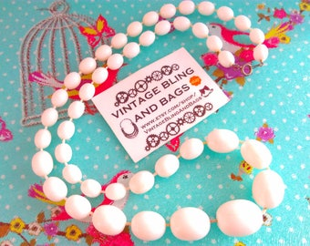 62cm vintage 1980s necklace (#1) 1980s necklace, white bead necklace, white necklace,  vintage necklace, necklace, vintage bead necklace