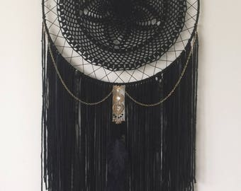 Black and Gold Dream Catcher - Bohemian Wall Hanging - Gypsy Decor - Crocheted Dreamcatcher