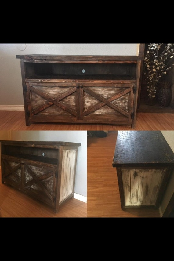 Rustic Distressed Entry Way Table Tv Cabinet Console