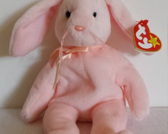 Rare Vintage Hoppity TY Beanie Baby with errors, Vintage Rabbit Toy, Hoppity Rabbit Beanie Baby, Retired Beanie Baby, Rare Error Beanie Baby