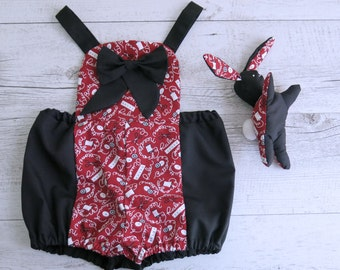 Sewing Threads Button Red & Black Romper Overalls Baby Matching Set Toy Bunny Plush Cute Baby Outfit