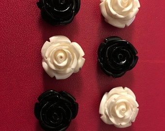 Black and white roses refrigerator magnets 6pcs   C56
