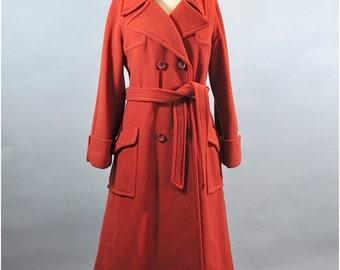 Vintage 1960s Orange Rust Wool Princess Coat. Vintage Burnt Orange Wool Long Coat. 1960s Rust Wool Princess Coat.