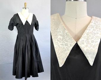 Vintage 1940s Black Dress with Silver Brocade Collar. 1940s Black Short Sleeve A-line Dress. Vintage Pointed Collar Black Dress
