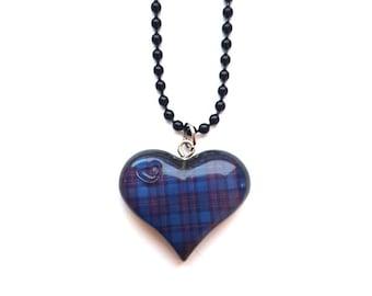 Tartan Heart Necklace ~ Scottish blue purple tartan heart necklace