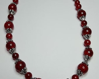 Red Glass Necklace With Black Agate Focal Stone