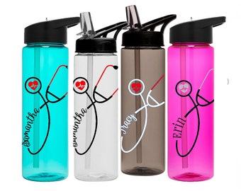 Nurse Stethoscope Water Bottle, Personalized Nurse Water Bottle, Registered Nurse Gift, Nurse Water Bottle, Nurse Graduation, Gift For Nurse