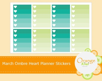 Ombre March Heart Checklist Planner Stickers St Patrick's Day Green and Aqua To Do List Erin Condren Life Planner