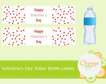 Happy Valentine's Day Water Bottle Labels, Valentine's Day Party Decor Water Bottle Wraps, Waterproof Labels, Valentine's Day Polka Dots