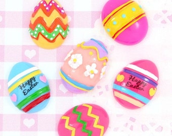 10% OFF SALE 6 x EASTER Egg Flat Back Cabochon Embellishments Decoden Kawaii Craft