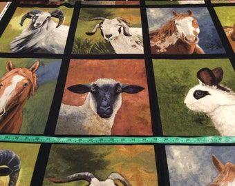 Robert Kaufman Farm Animal Panel, Block, Sheep, Horse, Pig, Goat