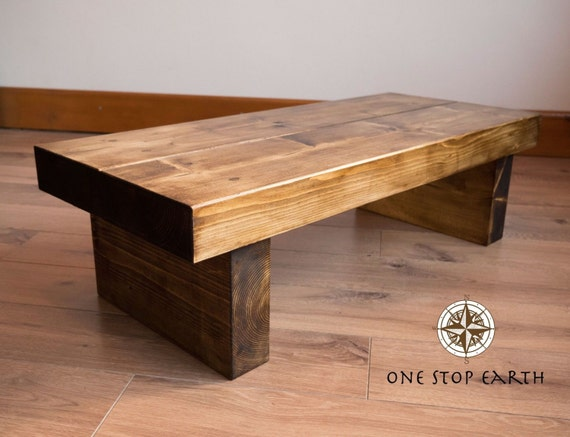 Items Similar To Chunky Rustic Solid Dark Oak Pine Wood Beam Plank Coffee Table Side Table