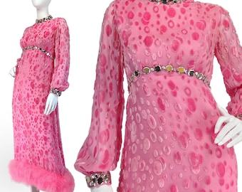 Vintage Prom Dress XS S, Pink Prom Dress, 60s Evening Dress, Psychedelic Dress, Pink Maxi Dress, Marabou Trim, Mirrors, Rare, SIZE XS S