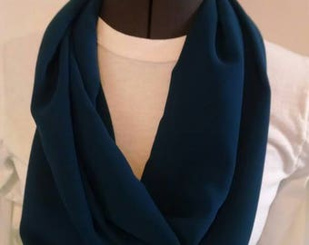 Sheer blue infinity scarf