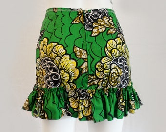 Green Floral waxprint High-Waist Ruffle Mini Skirt