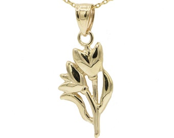 10k Yellow Gold Tulip Necklace