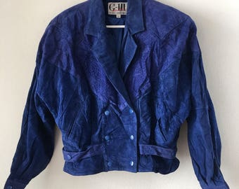 Blue women's jacket from soft suede short jacket steep lightweight jacket vintage style fashionable jacket old jacket has size-medium.