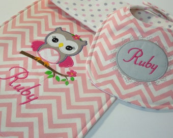 Personalized Bib and Burp Cloth Set - Pink Owl, baby bib and burp cloth, monogrammed bib and burp cloth, Baby shower gift