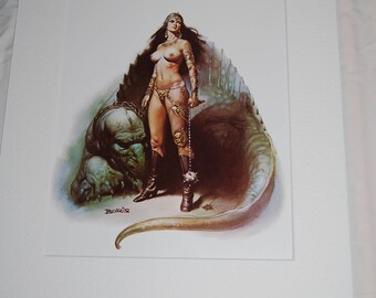 Boris Vallejo Matted Print - The Amazon's Pet - 1978