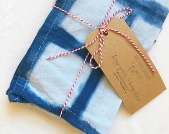 Shibori Grid Indigo Tea Towel
