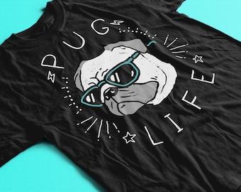 Pug Life Shirt by Ronan Lynam. Pug Shirt / Pug Gift / Pug TShirt / Pug T Shirt / Pug Owner Gift / Pugs and Kisses / Pug Dog / Pugs Not Drugs
