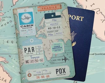 Retro Stamps - Personalized Passport Cover/Holder - Travel Passport Cover - High Quality Handmade Leather | TTG-PPC-036