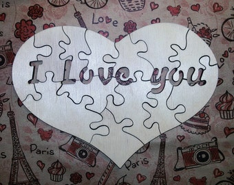 wooden heart Laser Cut Puzzle, I LOVE YOU Valentine's Day