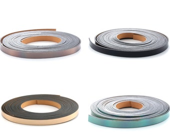 1 m metallic leather 5 mm 5x2mm  ((Dark gray, water green, pink gold and black)