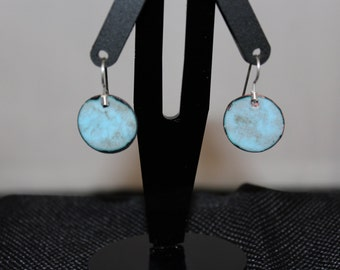 Light blue enameled earrings with sterling silver hoops
