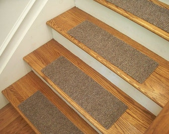 """Essential Carpet Stair Treads - Style Berber - Color Beige Gray - Size 24"""" x 8"""" - Sets of 4, 7, 13, or 15"""