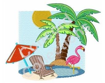 Summer Beach Scene Machine Embroidery Design