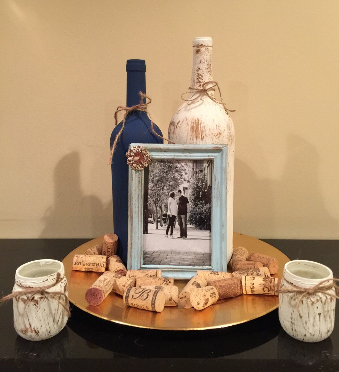 Rustic wine bottle centerpiece bridal shower table Wedding shower centerpieces