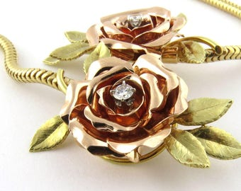Vintage 14K Yellow and Rose Gold Rose Necklace #690