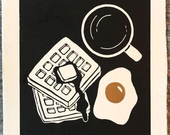 Breakfast- linocut print