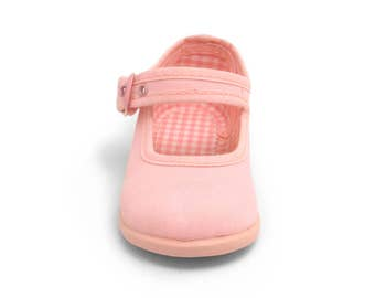 Pink Mary Janes shoes, pink canvas shoes, pink girl shoes
