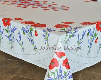 French Provence POPPY LAVENDER WHITE Rectangle Tablecloth Acrylic Coated - Indoor Outdoor French Oilcloth Fabric -Matching napkins available