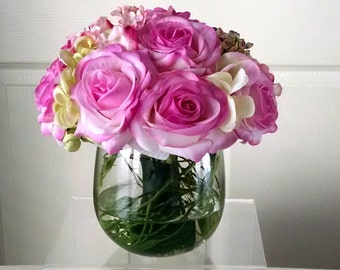 Real Touch Roses-Mother's Day Gift-Flower Arrangement-Silk Flowers in Home Decor--Fake Flowers-Silk Floral Arrangement-Fake Flowers