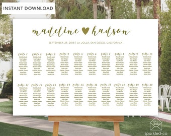 Gold Wedding Seating Chart Template, Gold Wedding Seating Chart, DIY Seating Chart, Seating Plan,Wedding Seating, Seating Template,
