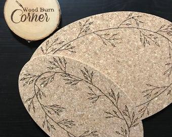 Hand Wood Burned Cork Trivet Set - 2 oval leaf wreath trivets