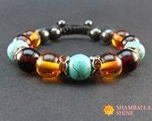 Clothing Gift Turquoise amber Blue brown bracelet Gemstone bracelet Crystal jewelry Sister bracelet Unique gifts Amber jewelry Womens gift