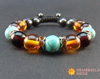 Turquoise amber Blue brown bracelet Gemstone bracelet Crystal jewelry Sister bracelet Unique gifts Amber jewelry Womens gift Valentines day
